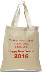"New Year's All Cotton Canvas Tote with Inspiring Message, ""New Year, New You"", Great for Self-Help Groups and Clubs Available at Discount and Wholesale Pricing at Cheap Totes."