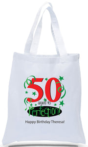 Happy 50th Birthday Gift Tote Bag Made of 100% Cotton Canvas with a Colorful Design Available with Discount and Wholesale Pricing at Cheap Totes.