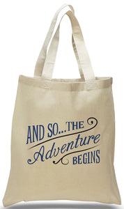 Discount All Cotton Canvas Totes for Weddings, Travel Clubs and Organizations.
