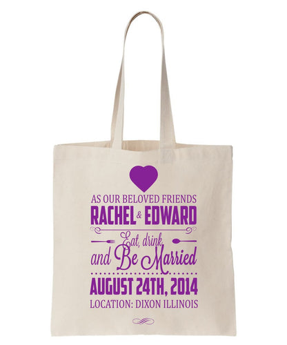 Wedding Announcement/Welcome Totes Made of 100% Cotton, Personalized with Names, Date and Location Just $3.99 Each.