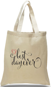 All Cotton Canvas Totes for Weddings, Travel Clubs and Organizations. Custom printing available.