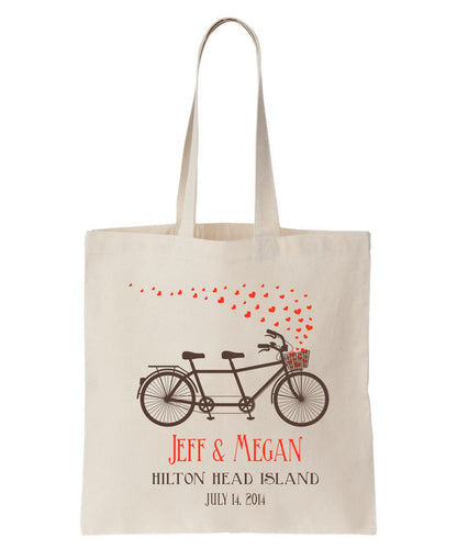 All Cotton Natural Color Canvas Tote with Tandem Bike Design, Personalized with Names, Date and Location, Ideal for Weddings and Special Events Just $3.99 Each.