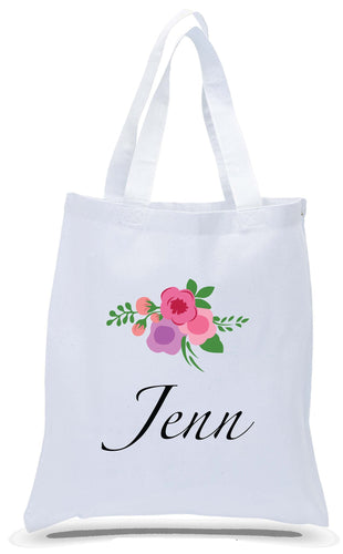 Bridal Party Flower Tote with Name