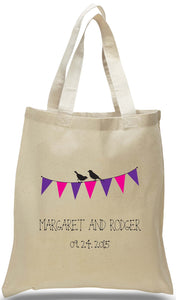 Discount All Cotton Canvas Bunting Tote, Ideal for Weddings, Travel Clubs and Organizations, Custom Printed with Names and Date Just $3.99 Each. Further Wholesale Discounts May Be Available for Large Orders.