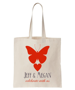 Wedding Welcome Tote with Butterfly, Customized with Names of Bride and and Groom, on All Cotton Canvas Available at Wholesale Discount Prices! Just $3.99 Each.