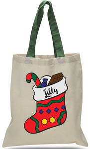 Christmas Stocking All Cotton Canvas Tote Customized with Name Just $3.99 Each.