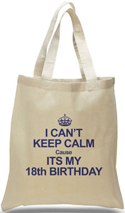 18th Birthday All Cotton Canvas Gift Tote Just $3.99 Each.