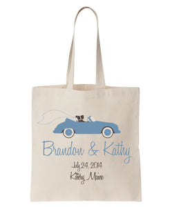 All Cotton Canvas Tote Customized with Names and Date and Classic Convertible Artwork, Ideal for Weddings, Clubs and Organizations Just $3.99 Each.