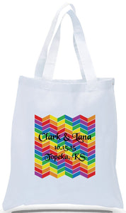 Rainbow by Famous Artist Chevron Reproduced on White Canvas Tote Personalized with Names, Location and Date Ideal for Weddings and Special Events Just $3.99 Each.