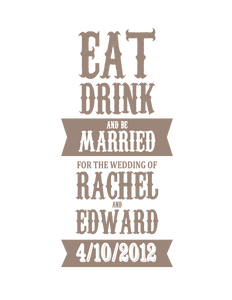 "Popular ""Eat, Drink and Be Married"" Printed on Wedding Welcome Tote Made of 100% Cotton Canvas, Just $3.99 Each."