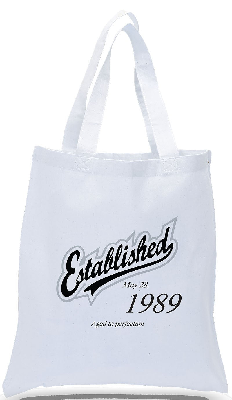 Personalized Birthday All Cotton Canvas Gift Tote, Complete with Name and Birthday, Just $3.99 Each.