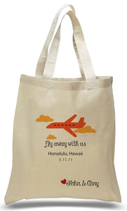 """Fly Away With Us"" Customized with Names and Date Printed On An All Cotton Canvas Tote Bag, Ideal for Weddings, Travel Clubs, Organizations Just $3.99 Each."