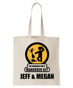 """Hangover Kit"" All Cotton Canvas Tote Bag, Personalized with Names, Date and Location, Ideal for Weddings and Special Occasions Just $3.99 Each."