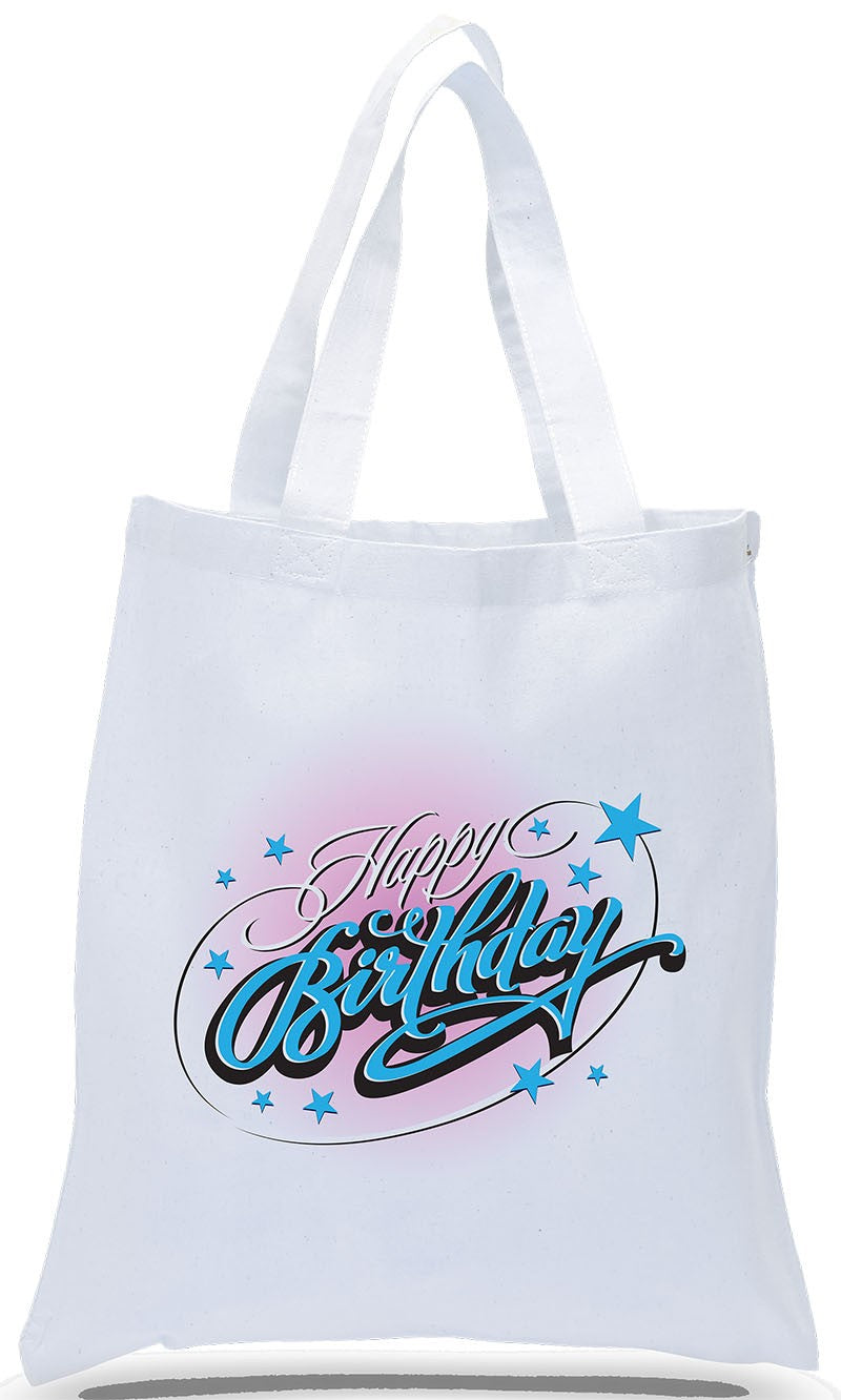 Happy Birthday Canvas Tote Made of 100% Cotton Canvas with Colorful Printed Design Just $3.99 Each.