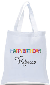 All Cotton Birthday Gift Tote Custom Printed with Name Just $3.99.