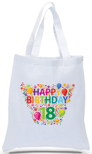 Happy 18th Birthday Canvas Tote Made of 100% Cotton Canvas with Colorful Printed Design Just $3.99 Each.