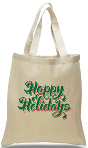 Happy Holidays Gift Tote Made of 100% Cotton Canvas Just $3.99 Each.
