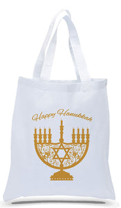 Happy Hanukkah Tote Bags Made of All Cotton White Canvas Just $3.99 Each.