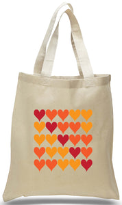 All Cotton Natural Color Canvas Tote with Heart Design Just $3.99 Each.  Further Wholesale Discount Pricing May Be Available for Large Orders. Please Contact Us.