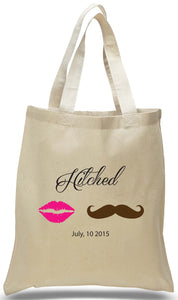 """Hitched"" Wedding Welcome Tote Just $3.99 Each."