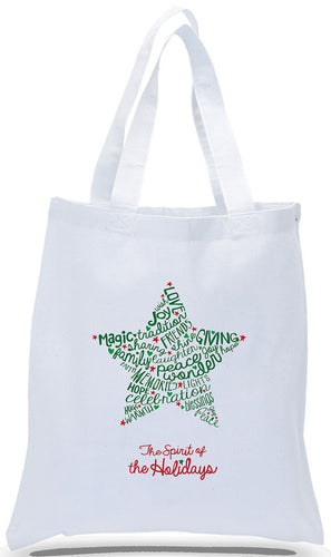 Holiday Gift Tote Bag with Contemporary Star Design on All Cotton White Canvas Just $3.99 Each.