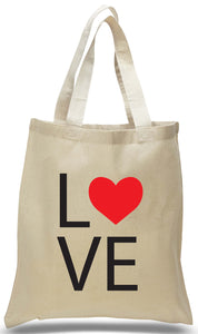 """LOVE"" Printed on All Cotton Canvas Tote Bag for Just $3.99 Each."