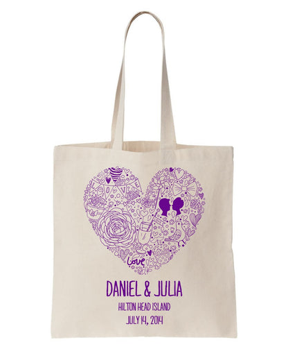 Contemporary Heart Design on All Cotton Canvas Tote Personalized with Names of Bride and Groom, Location and Date Just $3.99.  Also Ideal For Special Occasions and Events!
