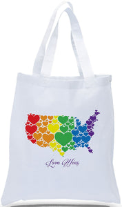 "Discount All Cotton Canvas Tote with ""Love Wins"" in Rainbow Colors- an Ideal Message for Political Groups and Organizations"