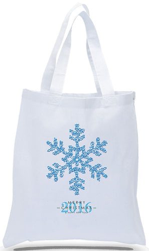 All Cotton White Canvas Christmas Gift Tote Bag with Snowflake Just $3.99 Each.