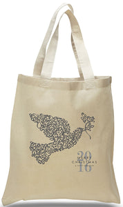 Dove of Peace All Cotton Canvas Christmas Gift Tote Bag Just $3.99 Each.
