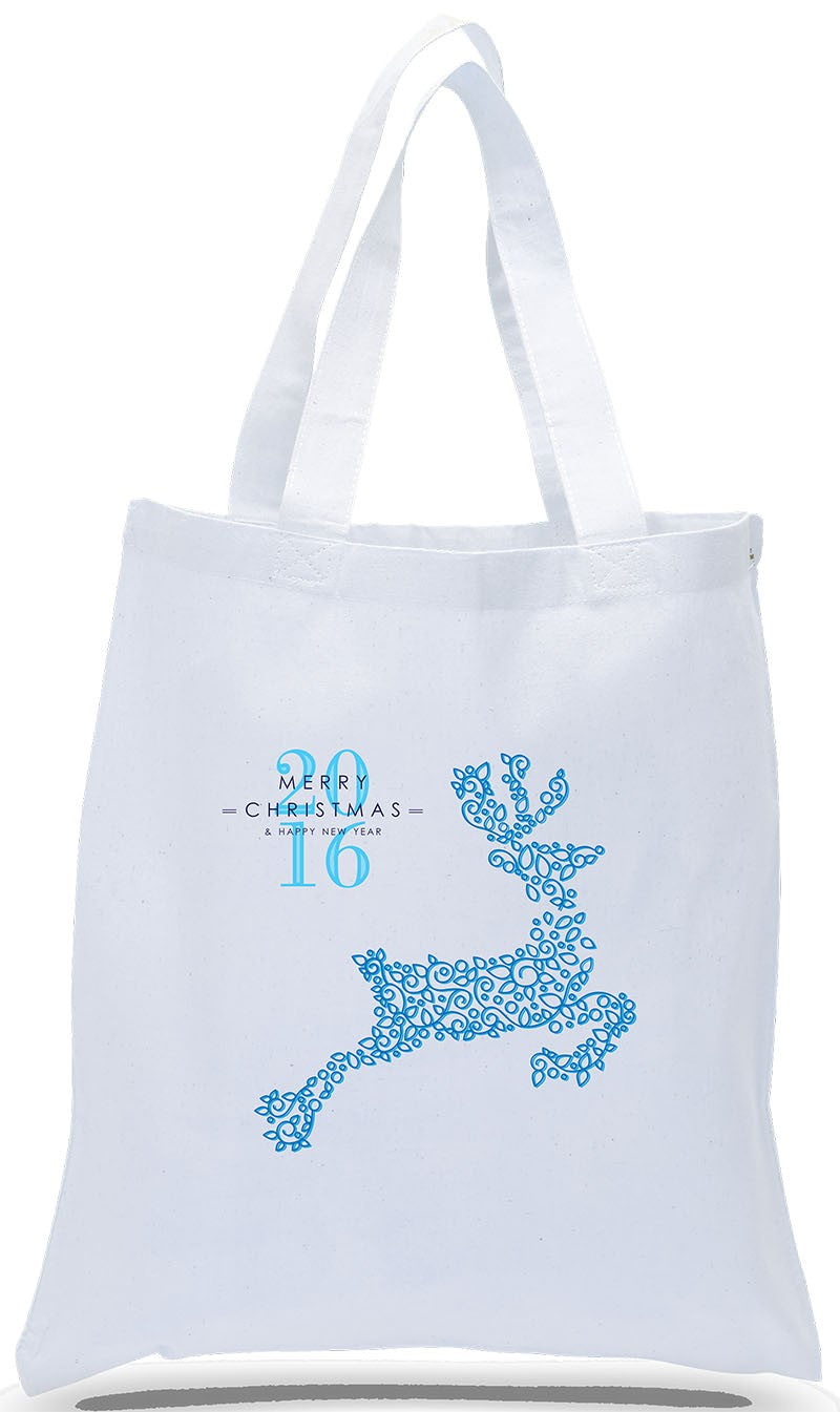 All Cotton Christmas Gift Tote Bag with Reindeer Just $3.99 Each.