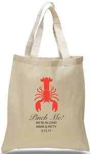 All Cotton Canvas Tote with Lobster Personalized with Names, Date and Location Ideal for Weddings and Special Events Just $3.99 Each.