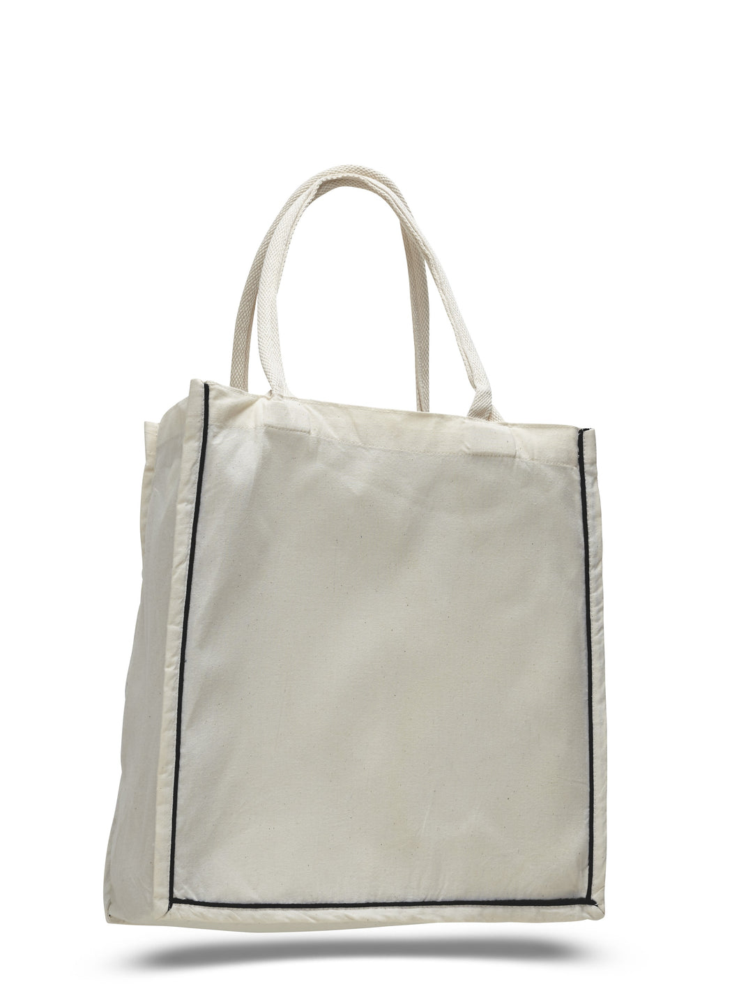 Quality All Cotton Canvas Tote with Stripe Accent Available at Wholesale Prices! Just $3.29 Each.