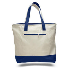 All Cotton Heavy Duty Classic Two Tone Canvas Tote with Zippered Pocket Available at Wholesale for Just $3.99 Each.