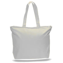 Big All Cotton Canvas Tote with Zippered Closure, an Ideal Canvas Bag and Travel Case, Available at Wholesale Prices! Just $3,89 Each.