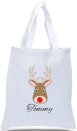 Christmas Gift Tote Bag Made of 100% Cotton For Kids! Personalized with Their First Name Just $3.99 Each.