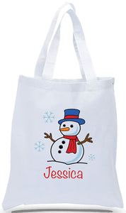 All Cotton White Canvas Christmas Gift Tote Bag Personalized with First Name, Great for Kids of All Ages! Just $3.99 Each.