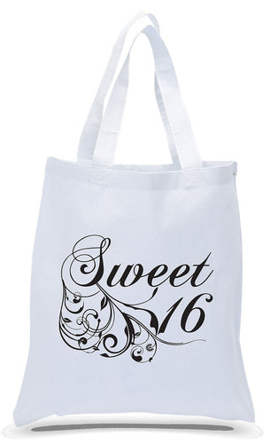 All Cotton White Canvas Sweet Sixteen Birthday Gift Tote Bag Just. $3.99 Each.