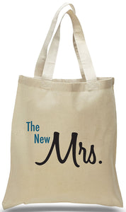 "Classic ""The New Mrs. ...."" On An All Cotton Natural Color Canvas Tote Just $3.99 Each."
