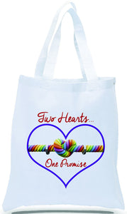 Two Hearts One Promise Wedding and Special Occasion Canvas Tote Just $3.99 Each.