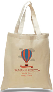 Customized All Cotton Canvas Tote with Hot Air Balloon Ideal for Weddings and Special Events Just $3.99 Each.