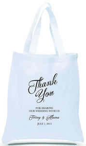 "Personalized ""Thank You"" All Cotton White Canvas Totes, Just $3.99 Each."