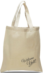 "Welcome Tote with ""Hey Y'All"" on All Cotton Canvas Just $3.99 Each. Great for Tourist Centers, Newcomers Clubs, Groups and Organizations."