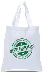 Classic Contemporary Design on All Cotton Canvas Tote with Merry Christmas Makes a Great Christmas Gift Tote, Available at Discount! Just $3.99 Each.