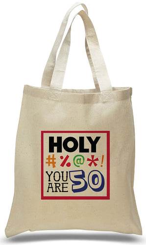 Happy 50th Birthday Gift Tote Bag Made of 100% Cotton Canvas Just $3.99.