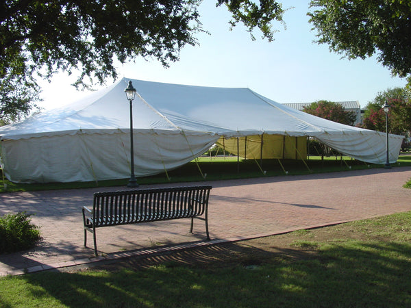 ohenry 50x80 party tent with solid white sidewalls