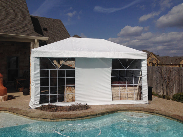 ohenry party tent with square cathedral window sidewalls