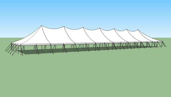 Ohenry 40' x 160' high peak pole tent sketch