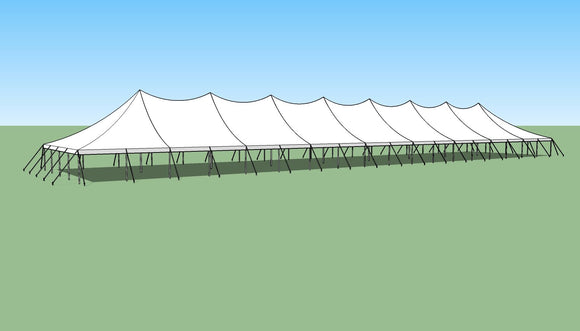 Ohenry 40' x 180' high peak pole tent sketch
