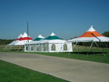 Ohenry 20' wide high peak pole tents used as Party tent
